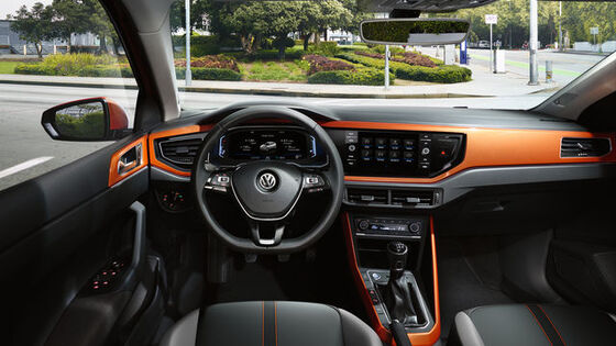 volkswagen vw polo orange interieur dekor
